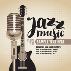 vector banner with an acoustic guitar and a microphone for the concert of jazz music on light background in retro style with inscription