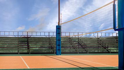 Empty volleyball arena 3d rendering