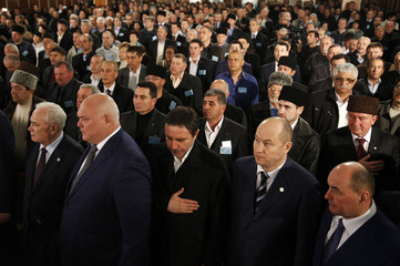 Delegates attend the Kurultai, the assembly of Crimean Tatars, in Bakhchisaray
