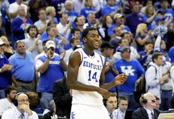 Kentucky Wildcats forward Michael Kidd-Gilchrist celebrates after his team defeated the LSU Tigers during the second round of the SEC men's NCAA basketball tournament in New Orleans, Louisiana