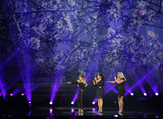 "Netherlands's OG3NE performs the song ""Lights and Shadows"" during the Eurovision Song Contest 2017 Grand Final at the International Exhi-bition Centre in Kiev"