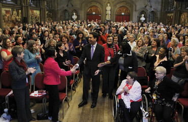 Britain's new Labour Party leader Ed Miliband arrives at the Labour Party Women's Summit during their conference in Manchester