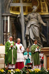 Pope Francis celebrates a mass to mark the opening of the synod on the family in Saint Peter's Square at the Vatican