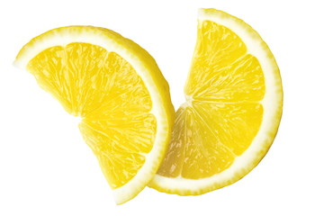 two juicy slices of fresh lemon, clipping path, on white background, isolated
