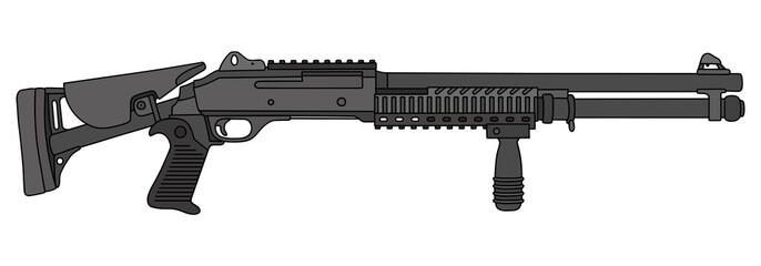 Pump shotgun with the folding stock