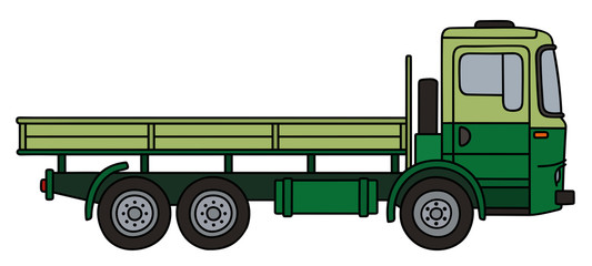 Light and dark green flatbed truck