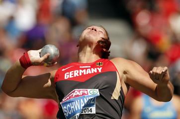 Schwanitz of Germany competes in the women's shot put final final during the European Athletics Championships at the Letzigrund Stadium in Zurich