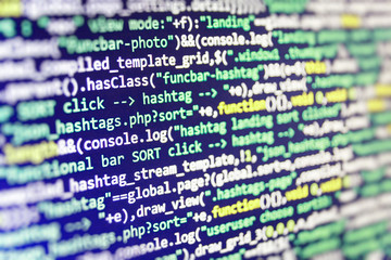 Coding script text on screen. New technology revolution. Young business crew working with startup. WWW software development. IT business.  Business and AI technology represent learning process.