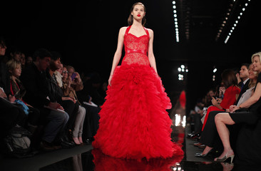 A model presents a creation at the Monique Lhuillier Fall/Winter 2012 collection during New York Fashion Week