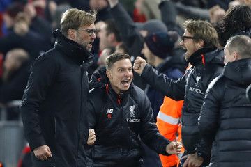 Liverpool manager Juergen Klopp celebrates after Ben Woodburn scores their second goal