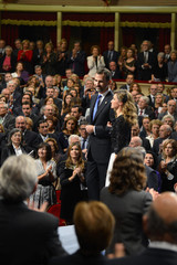 Spain's Crown Prince Felipe and his wife Princess Letizia wait before reception for winners of Prince of Asturias Awards in Oviedo