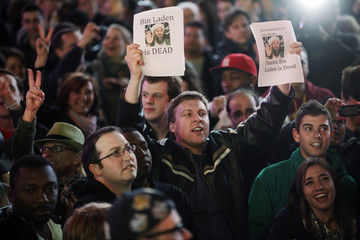 People celebrate after Al Qaeda leader bin Laden was killed in Pakistan, during a spontaneous celebration in New York