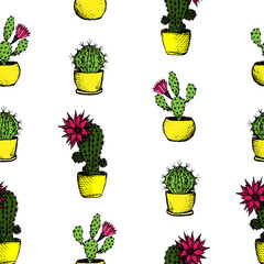 Cactuses - color seamless pattern with 3 types of cactuses