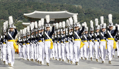 Cadets from the Korea Air Force Academy march during a parade in Seoul