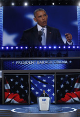 U.S. President Barack Obama speaks on the third night of the Democratic National Convention in Philadelphia