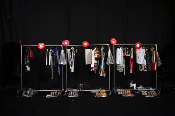 A clothes rack is seen backstage before the Desigual Spring/Summer 2014 collection during New York Fashion Week