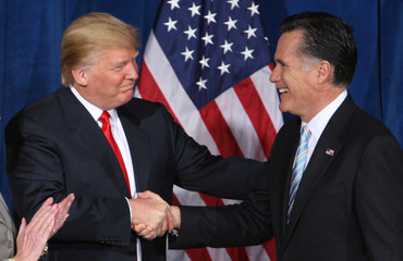 Businessman and real estate developer Donald Trump greets U.S. Republican presidential candidate and former Massachusetts Governor Romney after endorsing his candidacy for president at the Trump Hotel in Las Vegas