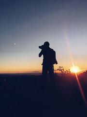 Silhouette man in mountain