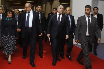 Vice President of the European Commission Tajani arrives with Tunisian PM Jebali and Minister of Industry Chakhari for the opening ceremony of Forum on Business and Technology in Tunis