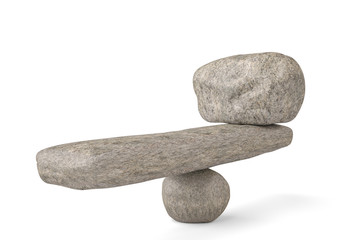 Big stone stability balancing stones on white background.3D illustration.