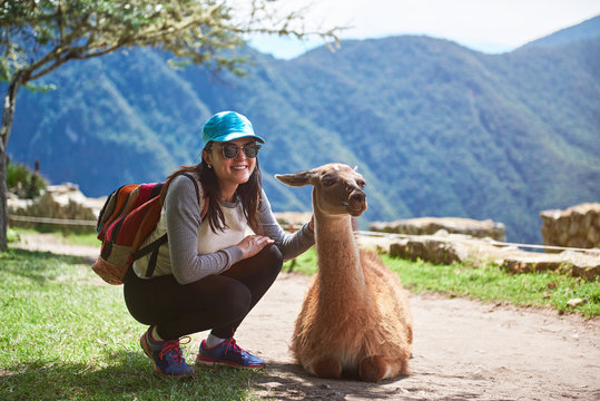 Woman meet lama in hiking trail
