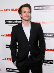 """Actor Johnny Simmons poses at a premiere of """"The Late Bloomer"""" in Los Angeles, California"""