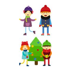 Christmas kids playing winter games skating cartoon new year winter holidays characters vector illustration.
