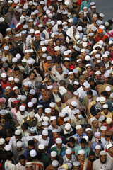 Devotees arrive to take part in the Friday prayer during Biswa Ijtema in Dhaka