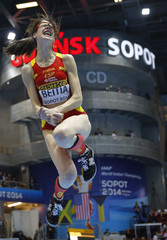 Spain's Beitia reacts during the women's high jump final at world indoor athletics championships in Sopot