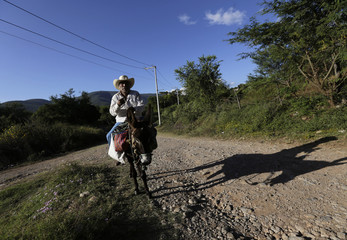 A resident rides a donkey along a road in the town of Joya, outskirts of Iguala