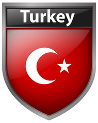 Flag on Turkey on badge design