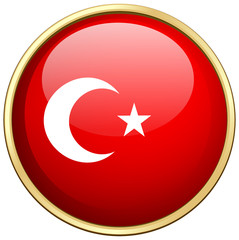Flag of Turkey on round badge