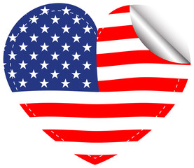 Flag of America in heart shape