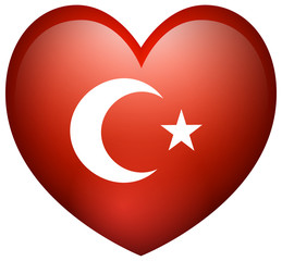 Flag of Turkey in heart shape
