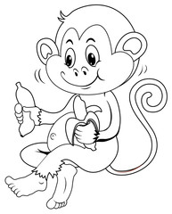 Animal outline for monkey eating banana