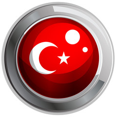 Flag of Turkey on round badge
