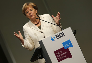 German Chancellor Merkel gives her speech at the Federation of German Industry BDI's Day of the German Industry conference in Berlin