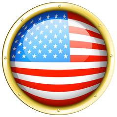 Flag of America on round frame