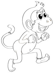 Doodle animal for cute monkey