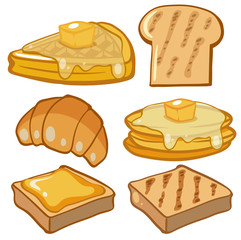 Different types of bread for breakfast