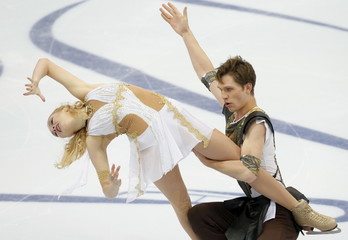 Kavaliova and Bieliaiev of Belarus perform during the ice dance free dance program at the Rostelecom Cup ISU Grand Prix of Figure Skating in Moscow