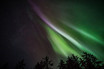 Norther Lights like flames in the sky