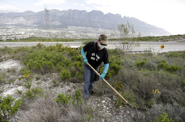 Woman with a missing relative takes part in a search at a plot on the outskirts of Monterrey