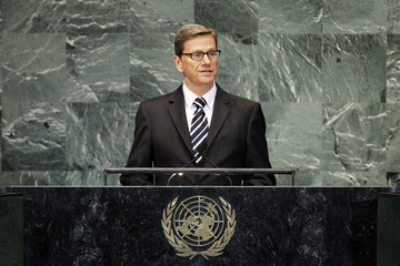 German Foreign Minister Guido Westerwelle speaks during the high-level meeting of the General Assembly on the Rule of Law in New York