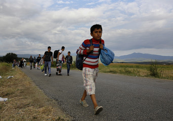 A Syrian refugee boy walks towards Greece's border with Macedonia