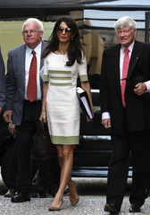 Human rights lawyer Alamuddin Clooney, Robertson, head of Doughty Street Chambers, and Hill, head of the International Committee for the Reunification of the Parthenon Marbles arrive at the  ministry of Culture and Sports in  Athens