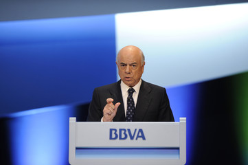 Francisco Gonzalez, chairman of Spain's second largest bank BBVA, addresses a general shareholders' meeting in Bilbao