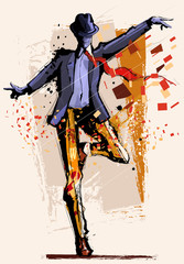 Poster de jardin Art Studio Man dancing over grunge background