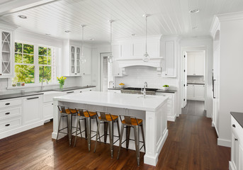Beautiful White Kitchen in New Luxury Home with Lights Off