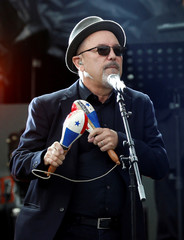 Singer Ruben Blades performs during a free open-air concert at Zocalo square in Mexico City